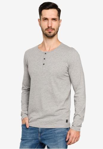 BLEND grey Henley Collar Long Sleeve T-Shirt C5781AA262A338GS_1