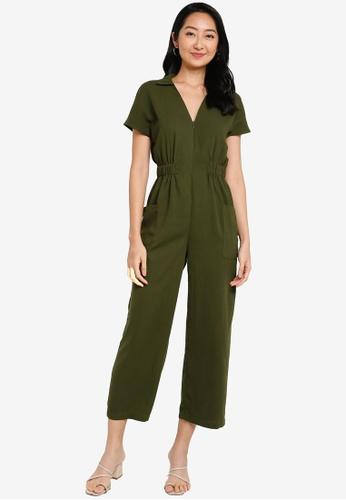 ZALORA BASICS green Zip Detail Jumpsuit B8726AAF77DCCDGS_1