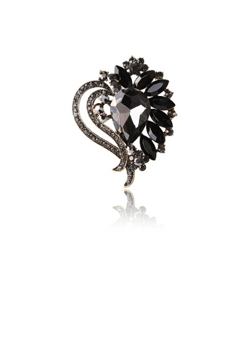 Glamorousky black Fashion and Elegant Plated Gold Heart-shaped Brooch with Black Cubic Zirconia C8693AC5C7A563GS_1