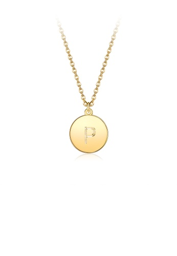 Glamorousky silver Fashion Simple Plated Gold Letter P Round Pendant with Necklace 31A1EAC2CBC846GS_1