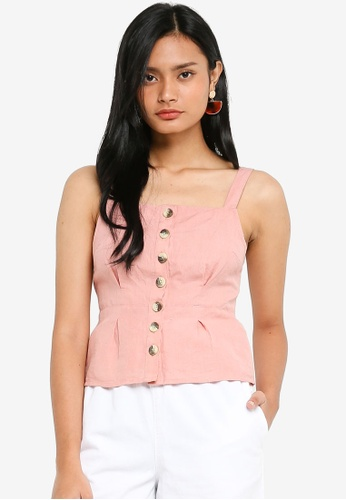 TOPSHOP pink Structured Button Cami B450EAAE4A5872GS_1