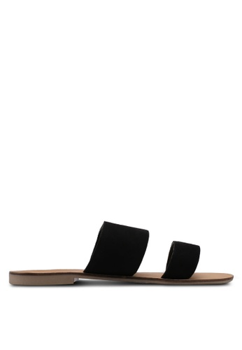 TOPSHOP black Hush Two Strap Sliders 30E61SH605E3C1GS_1