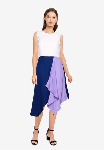 ZALORA WORK multi Colourblock Asymmetrical Hem Dress 93822AA048D6F4GS_1