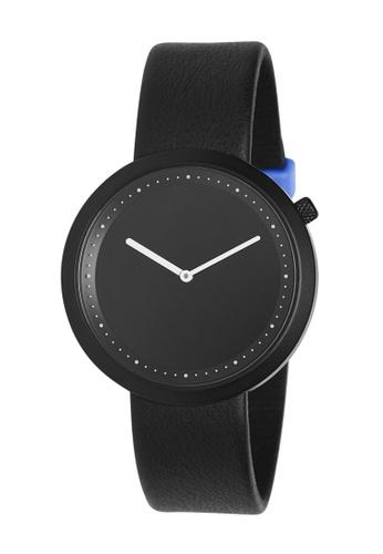 Splice Cufflinks black Bulbul Ore Black Steel on Black Italian Leather SP744AC09URESG_1