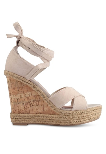 TOPSHOP 米褐色 草編繞帶楔型鞋 A6ED5SH7D7BA87GS_1