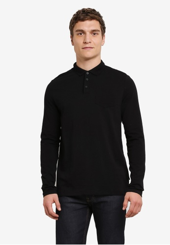 Burton Menswear London black Black Long Sleeve Stretch Polo Shirt BU964AA0S5MUMY_1