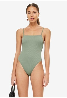5841b98599512 TOPSHOP. Straight Neck Ribbed Swimsuit