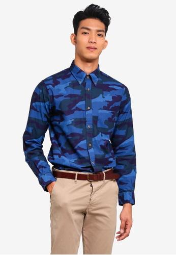 Brooks Brothers navy Red Fleece Indigo Camo Shirt 8AACCAA072FE90GS_1