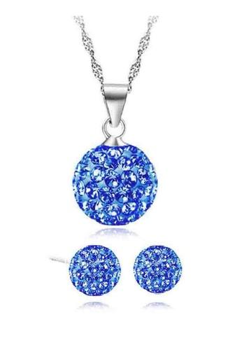 YOUNIQ silver YOUNIQ Korean Fashion 925S Swarovski Elements Necklace Set (Silver Blue) YO999AC63KYQMY_1