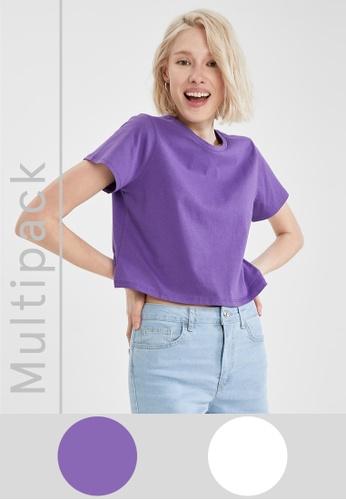 DeFacto 白色 2-pack Short Sleeve Cotton T-Shirt FCEC7AA8810B0FGS_1