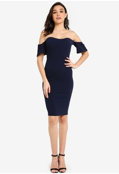 ed26d2642335 MISSGUIDED Navy Bardot Bodycon Midi Dress RM 89.00. Sizes 6 8 10 12 14