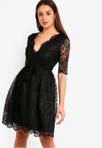 ZALORA black Lace Overlap Flare Dress E742BAA6DA8206GS_1