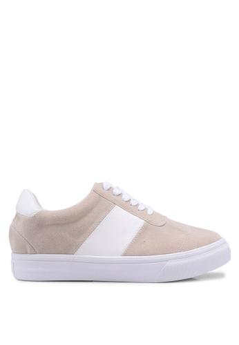Something Borrowed beige Contrast Lace Up Sneakers 7DD90SH606B17FGS_1