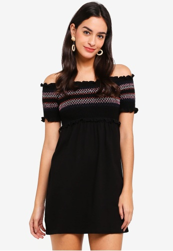 Miss Selfridge black Petite Black Shirred Jersey Shift Dress 00CBFAABC20BCDGS_1