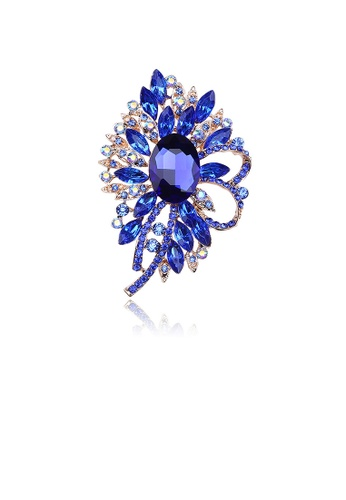 Glamorousky blue Elegant and Bright Plated Gold Geometric Flower Brooch with Blue Cubic Zirconia 99C58ACC15724DGS_1
