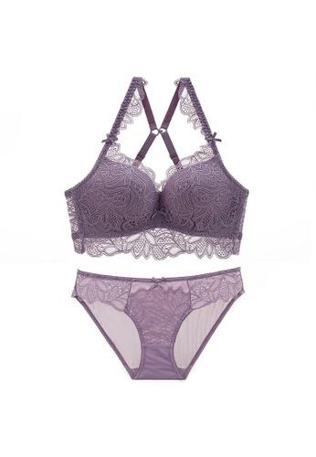 W.Excellence purple Premium Purple Lace Lingerie Set (Bra and Underwear) 35B21US56C9799GS_1