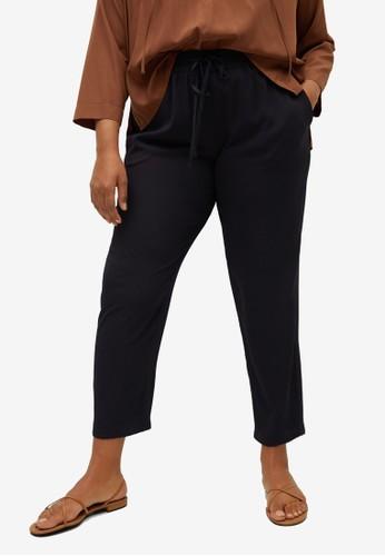 Violeta by MANGO black Plus Size Drawstring Baggy Trousers 1AEE5AA3103CD3GS_1