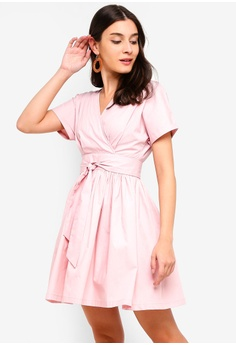 bb28184ef5d ZALORA pink Wrap Front Fit And Flare Dress 809C6AAD93813EGS 1