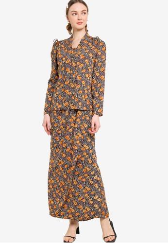 Lubna 黑色 and 褐色 Printed Kebaya With Tulip Skirt 39E46AA546BB56GS_1