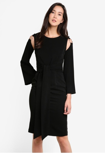ZALORA black Studio Ring Detail Sleeved Midi Dress 3EA0CAA1B611AFGS_1