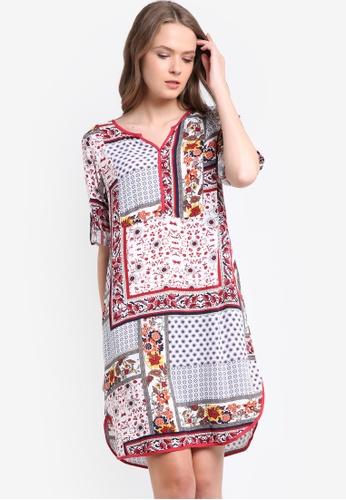 Geb. red and multi Mix Print Dress GE945AA14LJTMY_1
