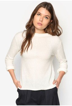Decorative Seam Wool-Blend Sweater