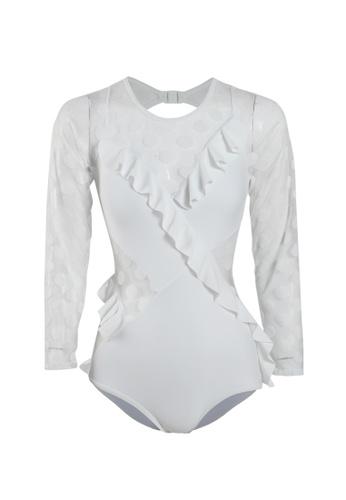 Its Me white Sexy Gauze Polka Dot One-Piece Swimsuit F6FA0US83D7410GS_1