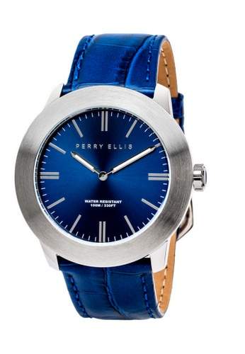 PERRY ELLIS blue Perry Ellis Slim Line Men 46mm Quartz Watch 03001-01 EA22CACF4A1360GS_1