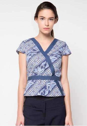 Bateeq blue Short Sleeve Cotton Blouse BA656AA61FYSID_1