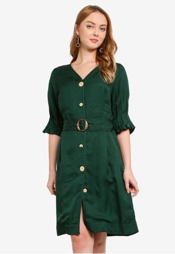 Hopeshow green Front Slit Button Dress with Belt 3B0F9AA3A969A3GS_1