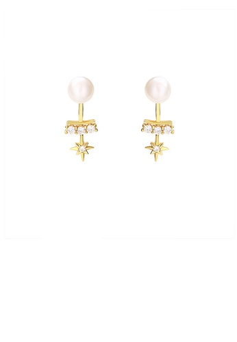 Glamorousky white 925 Sterling Silver Plated Gold Simple and Elegant Eight-pointed Star Freshwater Pearl Stud Earrings with Cubic Zirconia 58E2BAC9978205GS_1