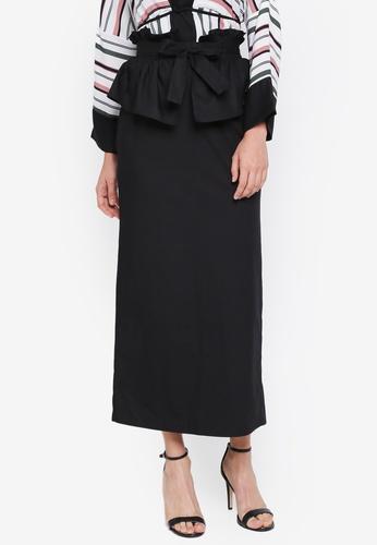 Lubna black Tiered Full Skirt 953CFAAE899454GS_1