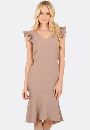 FORCAST beige Emily Fluted Dress 28C82AA5B22C0DGS_1