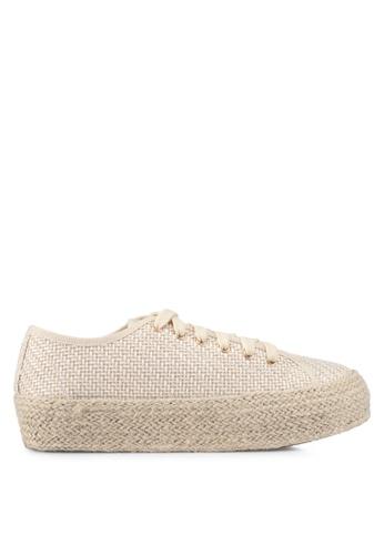 Something Borrowed beige Weaved Texture Sneakers 89AD5SH65FC1BEGS_1