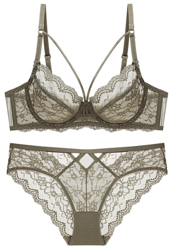 ZITIQUE green Ultimate Light Lace Lingerie Set (Bra And Underwear) - Green AF697US01055B2GS_1