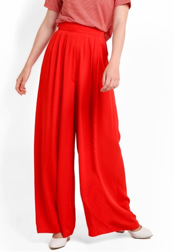WAREHOUSE red Soft Pleat Wide Leg Trousers WA653AA91RQEMY_1