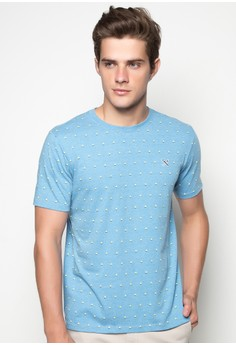 Short Sleeved Crew Neck T-Shirt with Pattern Print