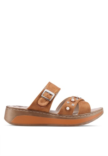 Louis Cuppers 褐色 Crossed Strap Sandals 63D41SH0164D89GS_1