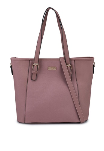 Unisa pink Saffiano Convertible Tote Bag ACDB3AC976AC54GS_1