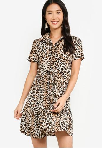 ZALORA BASICS 多色 Short Sleeve Shirt Dress 79639AAA0FB893GS_1