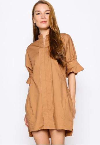 ZALORA WORK 褐色 Notch Neck Fluted Sleeves Dress 081D2AAEBAC12CGS_1