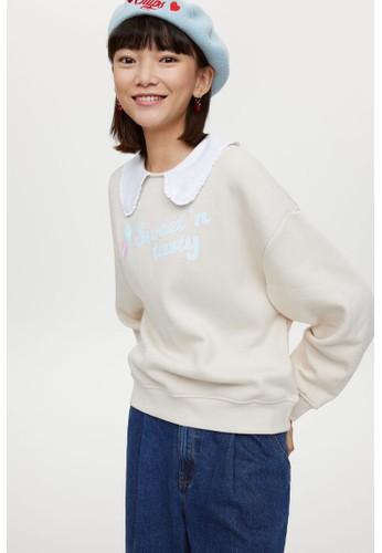 H&M beige Collared sweatshirt EC316AA6979266GS_1