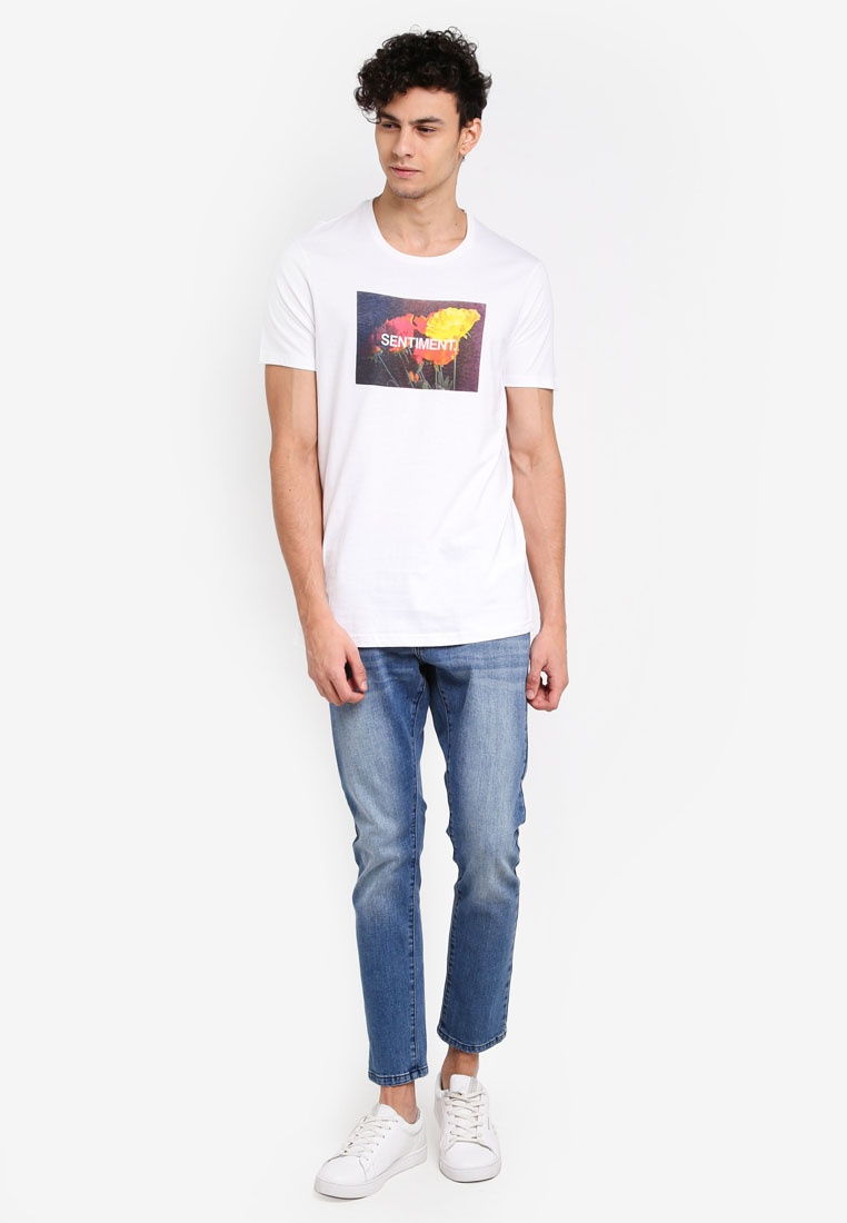 Sentiment TBar Cotton Tee On White prIrAwTqx
