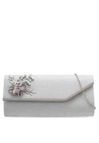 Unisa silver Flower & Pearl Embellishment Dinner Clutch UN821AC0SRU6MY_1