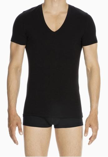 HOM black Smart Cotton Tshirt V Neck 52D24USECA4219GS_1