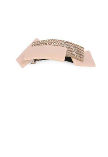 Glamorousky gold Fashion Temperament Geometric Stitching Gray Hair Slide with Cubic Zirconia BD3A3AC3C49A91GS_1