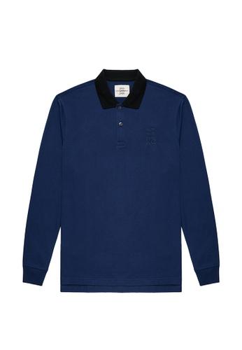 Kent and Curwen blue Deep Blue Long Sleeve Polo 491DFAA5107A61GS_1