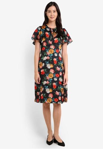 Mango black Floral Ruffled Dress MA193AA0RBVPMY_1