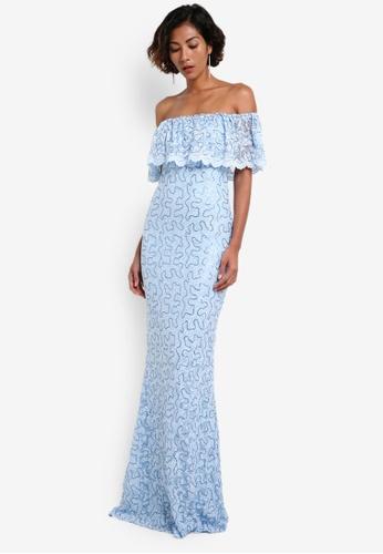 Goddiva blue Bardot Lace Maxi Dress GO975AA0RF4IMY_1