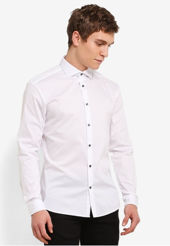 Burton Menswear London 白色 White Muscle Fit Cotton Textured Dobby Shirt BU964AA0S9Q6MY_1